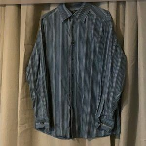 Access Men's blue striped button down XL